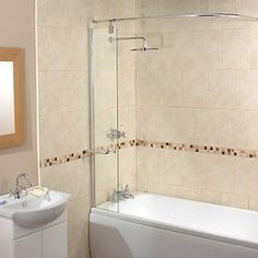 Buy John Lewis Splash Guard Shower Screen with Rail Online at johnlewis.com