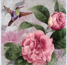 4 x Single Paper Napkins//Decoupage//Vintage//Craft//Belle Colibri//Hummingbird