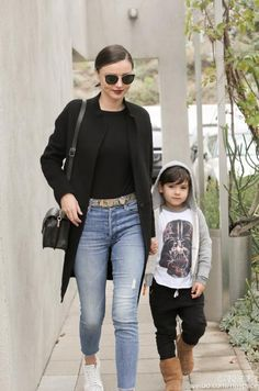 Miranda Kerr wearing Stella McCartney Faux Python Belt, Mother Stunner Ankle Fray Jeans in Graffiti Girl, Alaia White Laser Cut Sneakers, Celine Cl41373 Lea Sunglasses, Samantha Thavasa Miranda Double Bag and Stella McCartney Gold Faux Python Belt