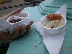 Pulpito y cangrejo comprados en un puestito de la playa ... estaban muy ricos ... a pesar del frío que hacía en el verano de Brighton !!!