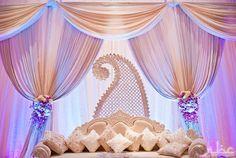 minus the middle part - purple + white wedding ecor Reception Stage Decor, Reception Backdrop, Wedding Mandap, Desi Wedding, Wedding White, Purple Wedding, Indian Wedding Decorations, Reception Decorations, Indian Weddings