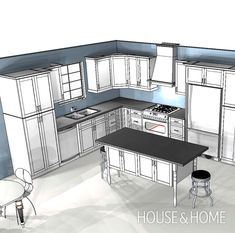 Kitchen Interior Remodeling In this episode, Reiko and Dave pick appliances first to determine the dimensions for the cabinets in the planned L-shaped kitchen. - Get kitchen design tips from Reiko Caron. Kitchen Redo, Home Decor Kitchen, Interior Design Kitchen, New Kitchen, Kitchen Ideas, Kitchen Sinks, Interior Modern, Rustic Kitchen, Country Kitchen