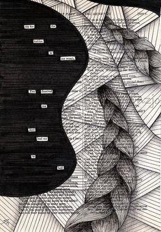 newspaper blackout meets zentangle