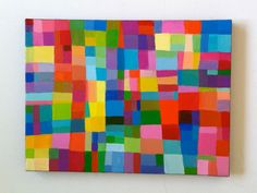 Abstract Painting / ORIGINAL PAINTING/ Geometric shapes/ Colored squares / blue red yellow green pink orange Colors/Home Decor/ Mosaic. $85.00, via Etsy.