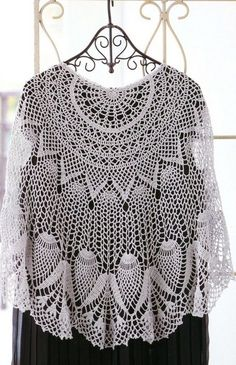 Crochet white poncho ♥LCP-MRS♥ with basic diagrams. --- Вязание шали крючком