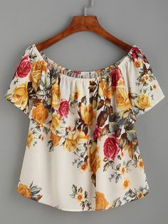 Top hombros al aire estampado floral volantes-Sheinside