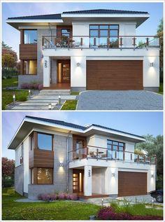 Fachada de sobrado com telhado aparente e garagem frontal