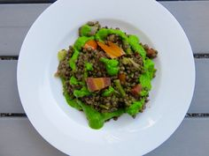 Lentils with roasted summer vegetables and basil-green pea pesto