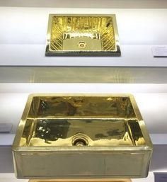 Polished brass sinks from Thompson Traders - KBIS, Kitchen and Bath Industry Show #brasssink #brass #kbis