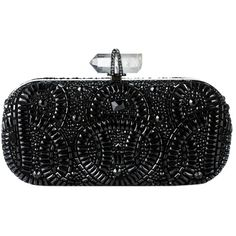 Pre-owned Marchesa Lily Black Clutch ($1,685) ❤ liked on Polyvore featuring bags, handbags, clutches, black, bolsas, flower handbags, embroidered handbags, glitter handbag, crystal clutches and kiss-lock handbags