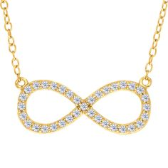 Infinity Sign Link With Cz Necklace In Yellow Color Finish Sterling Silver - 18 Inches