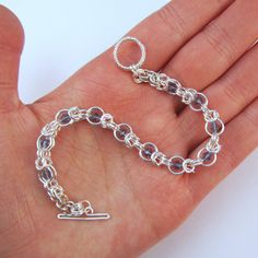 Chainmail Bracelet with Blue Crystals