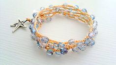 Boho Beach bracelet Springbohemian crochet by theflowerdesign, $32.00