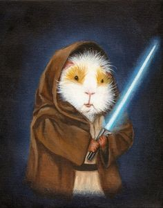 Jedi Guinea Pig Art Print by When Guinea Pigs FLy | Society6