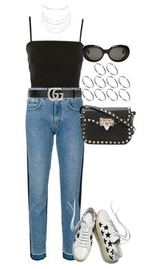 """Untitled #4319"" by lily-tubman ❤ liked on Polyvore featuring Topshop, MSGM, Valentino, Yves Saint Laurent, Gucci, ASOS, Acne Studios and Humble Chic"