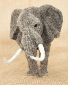 Made to Order Needle Felted African Elephant: Custom needle felted animal sculpture