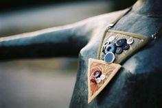 Textilný náhrdelník s gombíkmi