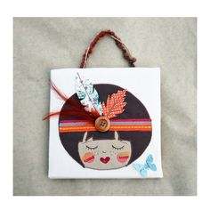 Tableau petite indienne art textile tableau par EphemereCollection