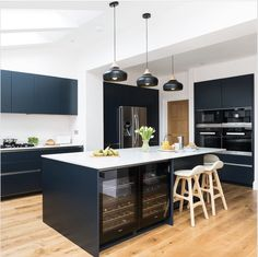 Kitchen Revolutions takes pride in delivering beautiful, bespoke German Kitchens at affordable prices. Open Plan Kitchen Dining Living, Navy Kitchen, Kitchen Design Open, Kitchen Ideas, Kitchen Decor, German Kitchen, Living Area, House Ideas, Kitchen Appliances