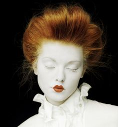 Victorian red-haired doll. Great pale Halloween make-up costume