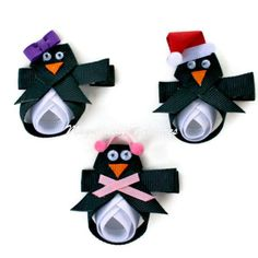 Penguin Ribbon Sculpture Hair Clip or Pin by Magnificence on Etsy, $5.00