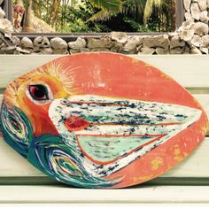 """This one of a kind original is done on a retired Skim Board!! It makes me happy just to look at it! Vibrant color and cheer adorn this bird of the sea!! Helping preserve a beach necessity the skim board""""! Finished in a glassy overlay 30x20"""