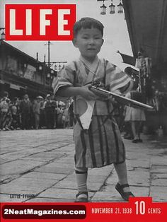 Life Magazine November 21, 1938 : Cover - Little Tycoon, small Japanese boy with toy gun.