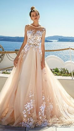 eva lendel 2017 bridal sheer cap sleeves sheer jewel neck sweetheart neckline heavily embellished bodice blush color romantic a line wedding dress open v back chapel train (kate) mv -- Eva Lendel 2017 Wedding Dresses Dream Wedding Dresses, Bridal Dresses, Wedding Gowns, Lace Wedding, Beige Wedding Dress, Rustic Wedding, Floral Wedding Dresses, Wedding Colors, Diy Wedding