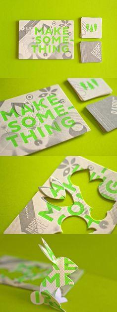 Rabbit Holes Uniek Zaken Card_Here is een unieke gestanst visitekaartje ontworpen door The Hungry Workshop voor Rabbit Hole. De heldere groene lettertype werkelijk knalt tegen de drukke achtergrond en je kunt zelfs de bouw van uw eigen konijn uit de kaart. Zo schattig! #BusinessCardMaker