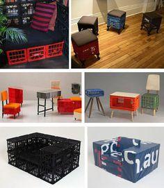 muebles con cajas de bebidas DIY ingenioso