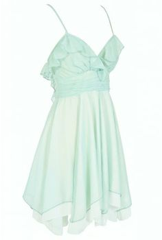 Forest Fairy Chiffon Ruffle Designer Dress in Soft Mint Lime