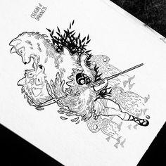 Inktober Day 21 #inktober2018 #inktober #drawing #artwork #illustration #dorothygranjo #princessmononoke #hayaomiyazaki #studioghibli #ink Princess Mononoke, Hayao Miyazaki, Ink Art, Studio Ghibli, Inktober, 21st, Day, Drawings, Illustration