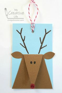 Cindy deRosier: My Creative Life: Reindeer Gift Tags Christmas Card Crafts, Preschool Christmas, Christmas Activities, Kids Christmas, Christmas Presents, Best Christmas Gifts, Christmas Cards Handmade Kids, Christmas Tables, Nordic Christmas