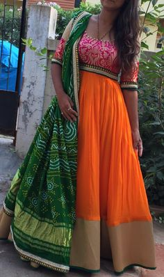 Floor Length Anarkalis.. Inspired by Indian Flag .. Fabrics : Net ; Bandini Chiffon ; Banaras