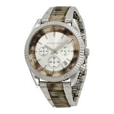b7466b12779 Michael Kors Clarkson Chronograph Silver With Index Markings Womens Watch  MK5962