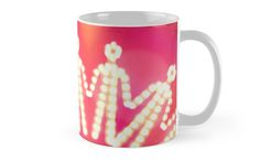 Mug illustrated with the front view of glowing iconic human silhouettes holding their hands to form a chain, referring to concepts such as solidarity, cohesion, teamwork, peace and mutual support / Copyright: Escarpatte Silhouette S, Teamwork, Pink Yellow, Hold On, Promotion, Cool Designs, Glow, Peace, Hands