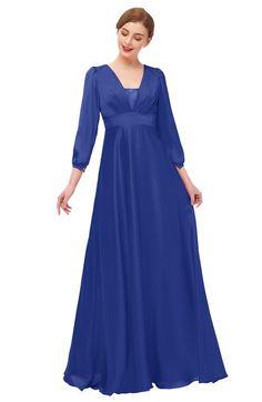 a5838a8cb82 ColsBM Andie Electric Blue Bridesmaid Dresses Ruching Modest Zipper Floor  Length A-line V-