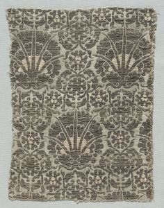 Silk Fragment, 1350-1399 Italy, second half of 14th century lampas weave, silk and gold thread, Overall - h:29.50 w:22.90 cm