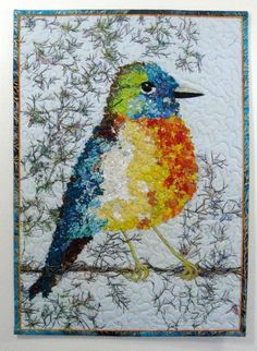 Fiber Art Quilt  Spring Bird Confetti Quilt Wall Hanging