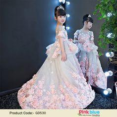 Girls Party Dresses Elegant 2018 Short sleeve flower long tail princess girl  dress children kids wedding