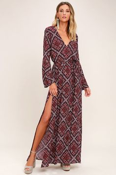 Lulus Exclusive! Brush up on your fa-la-las and guitar strums in the Music Lessons Burgundy Print Maxi Dress! Dreamy woven rayon has a deep burgundy, black, and red Boho print over a plunging bodice, and long bell sleeves. Sash belt cinches the waist above the maxi skirt (with twin side slits).