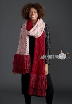 Вязаный спицами супер объемный шарф с узором из аранов