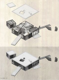 Image 9 of 32 from gallery of House in Curacavi / Felipe Combeau + Pablo Alfaro. Photograph by Felipe Combeau Architecture Graphics, Architecture Drawings, Amazing Architecture, House Architecture, Draw Diagram, Axonometric Drawing, Urban Ideas, Arch Model, Plan Drawing