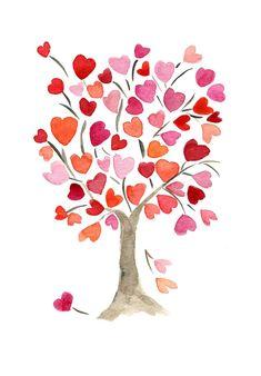 The hearts tree, art print of original watercolor painting Valentines Watercolor, Valentines Art, Watercolor Trees, Watercolor Paintings, Valentines Illustration, Heart Tree, Flower Doodles, Pottery Painting, Art Plastique