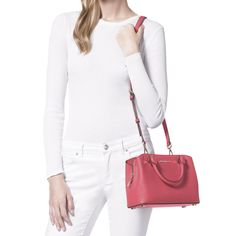 60038ed044ef Michael Kors Savannah Small AZALEA Saffiano Leather Satchel Bag -- Click on  the image for