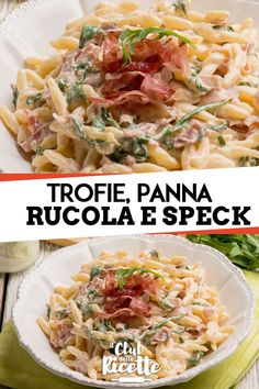 Trofie with Cream, Rocket and Speck, Food And Drinks, Trofie with rocket cream and speck. Spaghetti, Pizza, Food Hacks, Pasta Salad, Italian Recipes, Delish, Food And Drink, Cooking, Breakfast