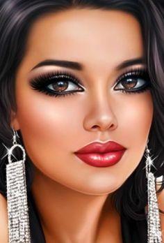 Fantasy Art Women, Beautiful Fantasy Art, Beautiful Girl Image, Digital Art Girl, Digital Portrait, Cartoon Girl Images, Girly Drawings, Painting Of Girl, Cute Girl Face