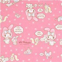 pale pink My Melody bunny tea plush toy Sanrio oxford fabric from Japan - Sanrio Fabric - Fabric - kawaii shop modeS4u