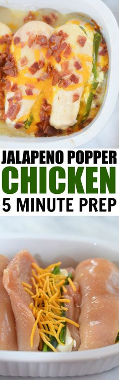 KETO Jalapeno Popper Chicken, just 6 ingredients and 5 minutes of prep. Easy low carb chicken recipe that the whole family will enjoy. Chicken Dishes For Dinner, Dinner Dishes, Dinner Recipes, Dinner Ideas, Main Dishes, Meal Ideas, Supper Ideas, Food Ideas, Cream Cheese Jalapeno Poppers
