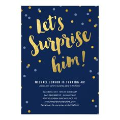 Gold Lettering Surprise Party Invitations For Him